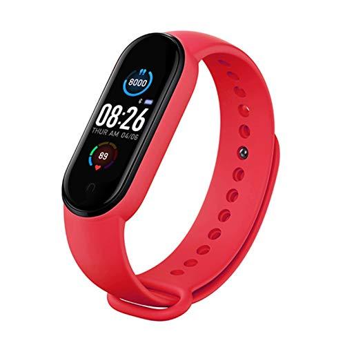 LYB Reloj inteligente para hombre y mujer, con monitor de presión arterial, monitor de presión arterial, pulsera de salud, banda inteligente Bluetooth (color para M5 rojo)