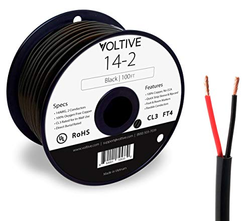 Voltive 14/2 Speaker Wire  14 AWG/Gauge 2 Conductor  UL Listed in Wall CL2/CL3 and Outdoor/In Ground Direct Burial Rated  OxygenFree Copper OFC  100 Foot Spool  Black