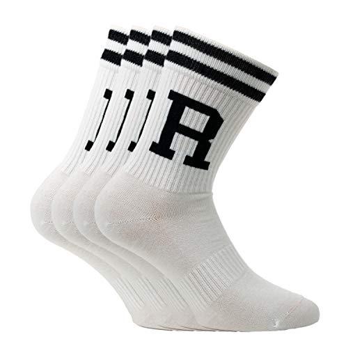RODIES R Tennissocken Herren und Damen (4xPaar) Retro Socken Sportsocken Crew Socks (43-46)