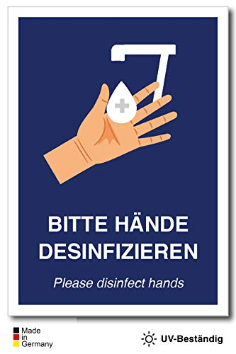 Aufkleber Schild Bitte Hände desinfizieren (DIN A6)