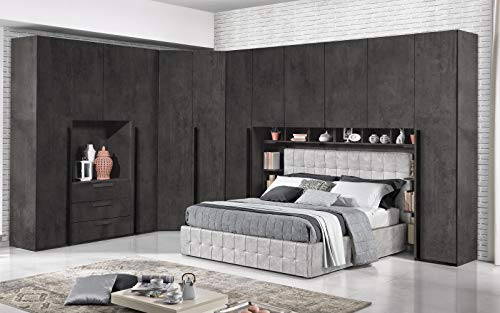 Dafne Italian Design - Cámara completa de puente, oxido, estilo moderno (cama de matrimonio y armario)