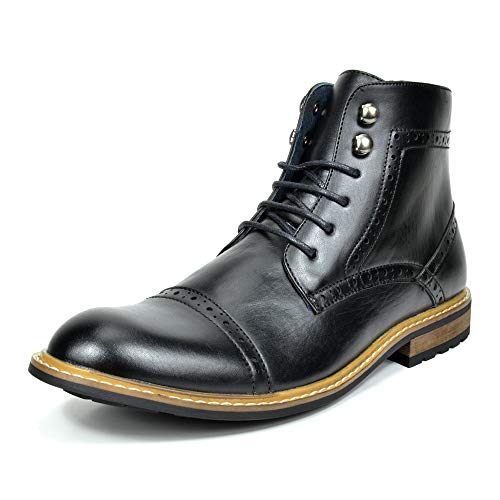 Bruno MARC BERGEN-03 Men's Formal Classic Notched Lace Up Perforated Leather Lined Ankle High Oxford Dress Boots BLACK SIZE 10