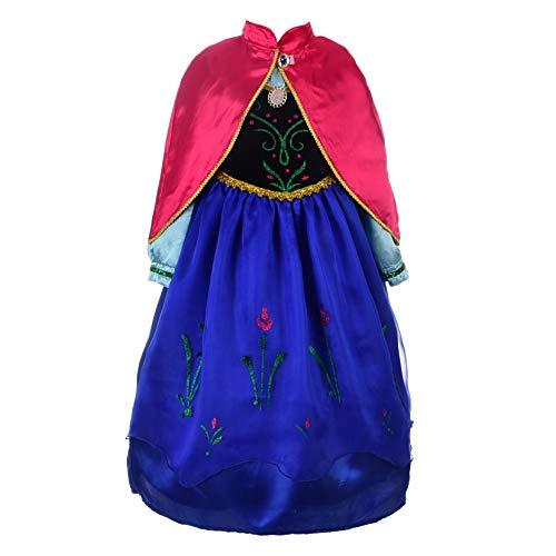 Lito Angels Mädchen Eiskönigin Prinzessin Anna Kleid Kostüm Weihnachten Halloween Party Verkleidung Karneval Cosplay 5-6 Jahre