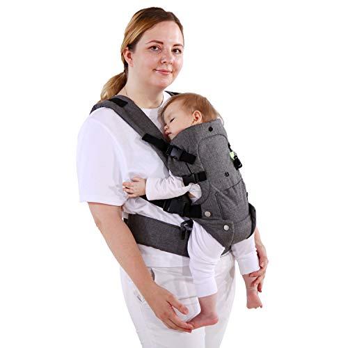 longdafei Babytrage, ergonomisches Design-Babytragetuch Cabrio mit atmungsaktivem Air-Mesh und verstellbaren Schnallen Baby Trage für Kleinkinder und Neugeborene
