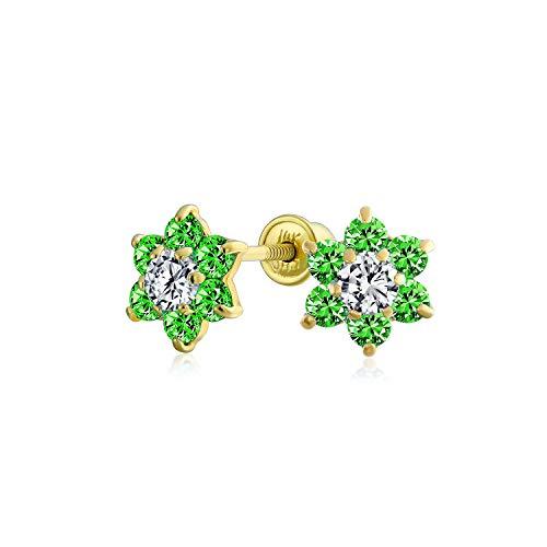 Pequeño verde CZ flor Stud Pendientes para las mujeres para adolescente cúbico Zirconia simulado esmeralda 14K oro real atornillado