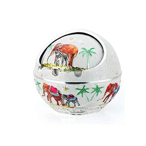CESULIS Gran Capacidad Cenicero con Tapa patrón Creativa Moderna de Elefante Blanco cenicero cenicero de la Oficina en casa Sala de Estar Regalos