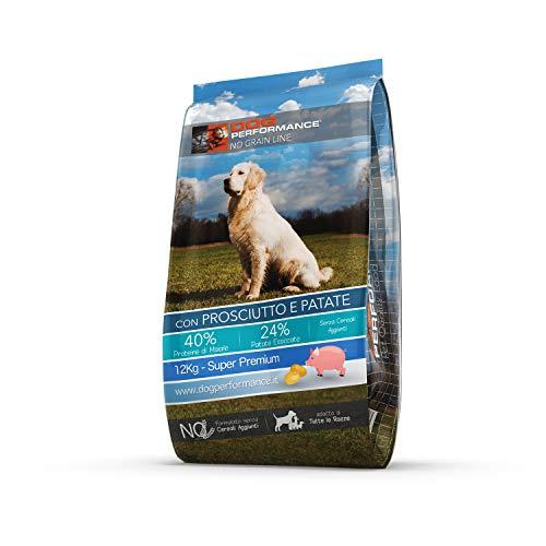 DOG Performance Crocchette per Cani Senza Cereali, Grain Free, No Grain, Monoproteiche, con Prosciutto e Patate - Sacco da 12Kg