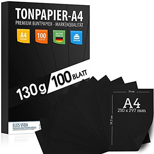 100 Stück Schwarz TONZEICHENpapier A4 – 130g stark – Schwarze Blätter – Bastel Bogen - Vollschwarz – Stabiles Zeichenpapier , Pappe zum Basteln, Zeichenkarton - DIY - Kreativ Zubehör für Fotoalben
