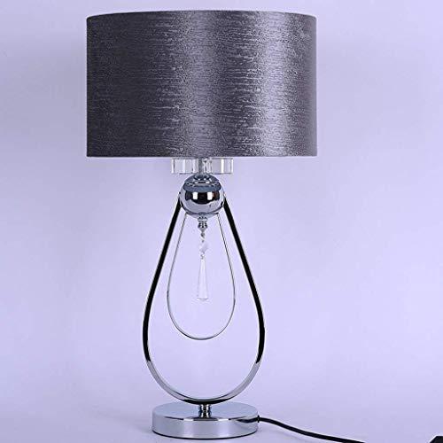 Dongyd Tafellamp voor bedlamp, eenvoudig en modern bedlampje voor slaapkamer, bureaulamp, Scandinavische mode, creatieve woonkamerlamp met metalen voet en kristallen lampenkap van stof donkergrijs