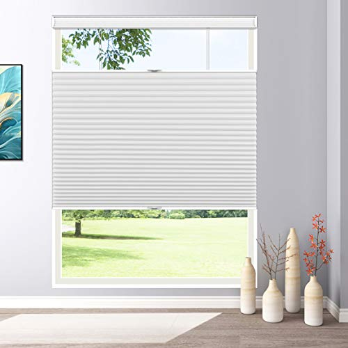 Keego Blackout Window Blinds Top Down Bottom Up Cordless Cellular Shades, 26' W x 48' H, White, Honeycomb Blinds for Bathroon Kitchen Windows Doors
