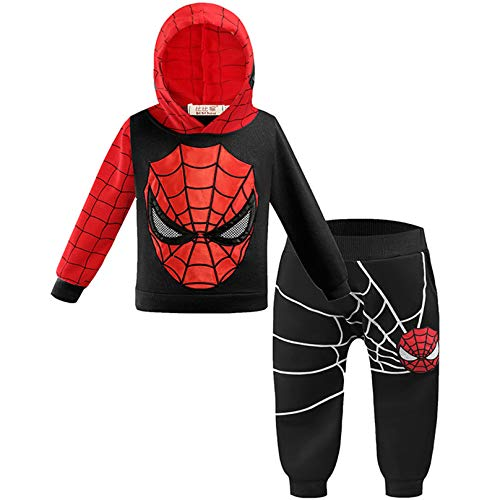 MODRYER Ragazzi Spiderman Felpa con Cappuccio Bambini Zipper Pullover Tuta Superhero Cosplay Felpa Pant 2 Piece I Regali di Halloween per i 4 5 6 7 8 Anni,Black-Small/110cm