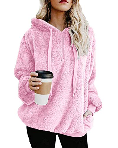 ORANDESIGNE Damen Casual Winter Kapuzenpullover Teddy-Fleece Langarm Oversize Sweatshirt Hoodie Einfarbig Warm Rosa DE 50