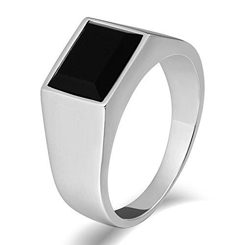 KnSam Anillo de acero inoxidable para hombre, rectángulo, de acero inoxidable, anillo de sello para hombre, con circonita, plata anillo con grabado gratuito, Acero inoxidable, Circonita cúbica.,