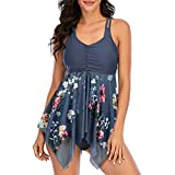Zando Tankini Swimsuits for Women Plus Size Bathing Suits Tummy Control Swimsuits Floral Tankini Tops with Swim Bottom Swimsuit Mesh Swimdress Two Piece Swimming Suit for Women 07 Grey Flower 6-8