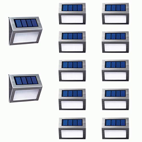 [Warm Light] Solar Lights for Steps Decks Pathway Yard Stairs Fences, LED lamp, Outdoor Waterproof, 12 Pack
