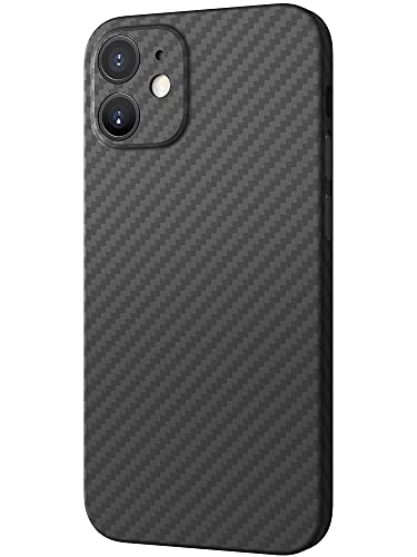 Black Rock - Hülle Carbonhülle Hülle Ultra Dünn Passend für Apple iPhone 12 Mini   Aramid Handyhülle, Fiber Cover, Kabellos Laden, Premium (Schwarz)