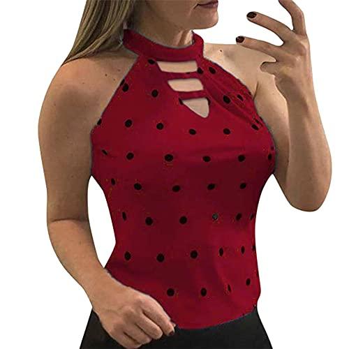PRJN Camiseta sin Mangas para Mujer Camiseta sin Mangas con Cuello Halter y Estampado de Lunares de Verano para Mujer Tops sin Mangas en la Espalda Camisetas Ajustadas con Camisola