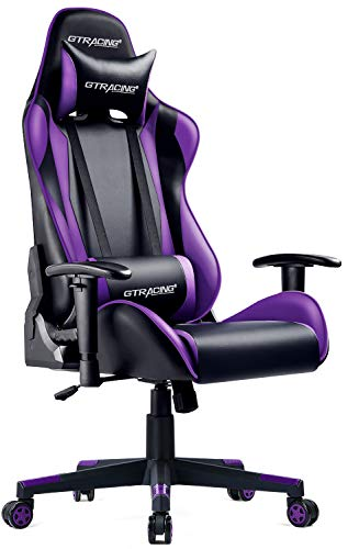 GTRACING Gaming Chair Racing Office Computer Game Chair Ergonomic Backrest and Seat Height Adjustment Recliner Swivel Rocker with Headrest and Lumbar Pillow E-Sports Chair (Purple)