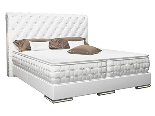 HG Royal Estates GmbH Baron Chesterfield Boxspringbett Weiß Kunstleder Größe 180 x 200 cm
