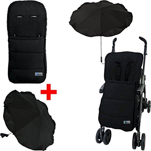 Kinderwagen/Buggy Sommer-SET (Sommerfußsack + Sonnenschirm) Wasser- und Windabweisend (SCHWARZ)