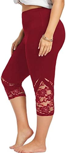 Lace Leggings for Women Plus Size High Waisted Capri Cropped Leggings Stretch Lace Trim Soft product image