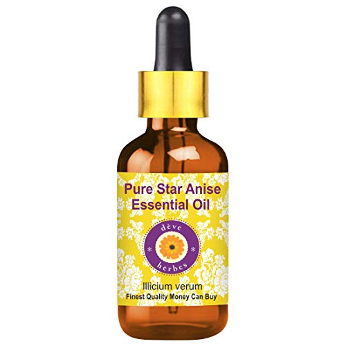 Huile essentielle d'anis étoilé Deve Herbes Pure (lllicium vert) avec compte-gouttes en verre 100% naturel, qualité thérapeutique 10ml (0,33 oz)