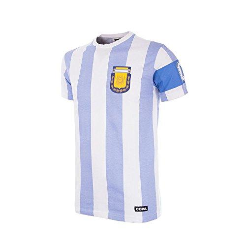 Copa Camiseta Unisex de Cuello Redondo Argentina Capitano, Unisex niños, Camiseta Cuello Redondo, 6850, Blanco, 164