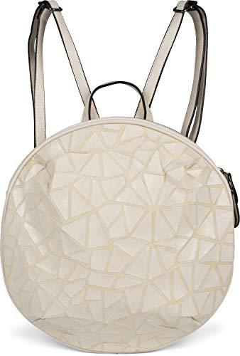 styleBREAKER Damen Rucksack Handtasche Rund mit Oberfläche im Prisma Look mit Reißverschluss, Tasche 02012325, Farbe:Creme