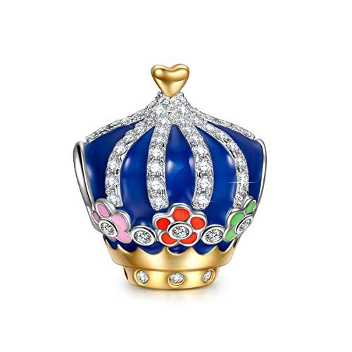 NINAQUEEN Charm für Pandora Charms Armband Kaiserkrone Geschenk für Frauen Silber 925 Zirkonia Antibakterielle Eigenschaften Schmuck Damen mit Schmuckkasten
