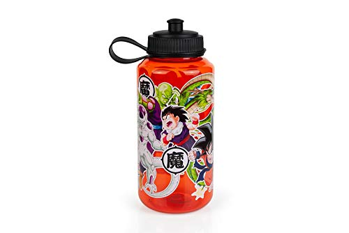 Dragon Ball Z Single Wall 32 oz Plastic Water Bottle - BPA-Free Lighweight Reusable Drinking Bottle with Leak Proof Lid & Easy Push-Pull Cap - Best for Travel, Sports & Play - Home, Office & School