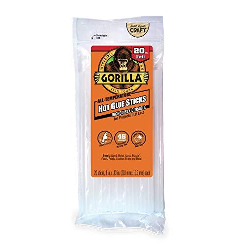 "Gorilla Hot Glue Sticks, Full Size, 8"" Long x .43"" Diameter, 20 Count, Clear, (Pack of 1) - 3032016"