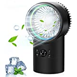 OVPPH Portable Air Conditioner, Personal Air Cooler Fan Mini Evaporative Cooler Desk Table Fan, Quiet Air Circulator Humidifier Misting Fan with 3 Speeds for Home Bedroom Office (Black)