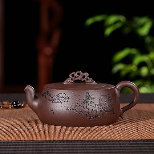 Zisha Hu Shibian - Tetera de arcilla china hecha a mano Kung Fu de 10 onzas, auténtica de Yixing