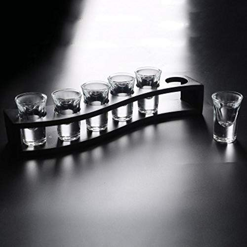 ERTY 6 Pcs Thule Schnapsglas Set Fett Haushalt Bar Club Tumbler Feuerwasser Schnaps Wein Cocktail Pint Bullet Cup, 6 Stück 20ml mit Rack