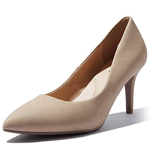 Mid-Heel Pumps High Heel Pump Pointed Heel Wedding Party Simple Classic Dress Valentines Day On Stiletto Pumps Shoes Crystal-02 Natural Nubuck Pu 8