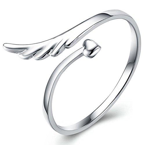 TOOGOO Bijoux - Anello in argento sterling a forma di cuore Anello regolabile in ali di angelo