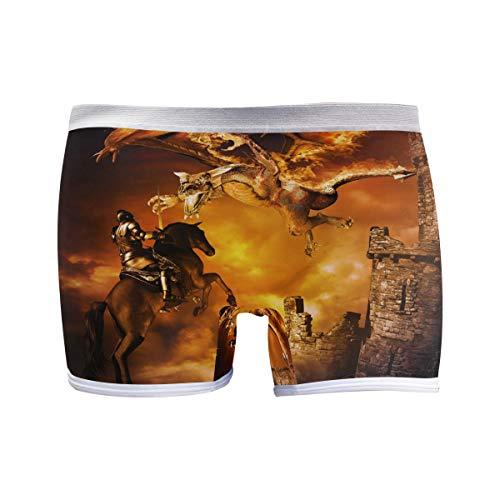 PUXUQU Damen Boxershorts Panties Fantasie Schloss Drachen Ritter Unterwäsche Unterhosen Pants