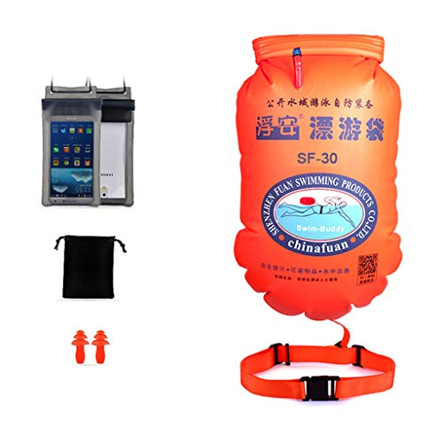 Boya de natación-niños/adultos/seguro natación Booy dispositivo flotante, con bolsa seca y funda impermeable del teléfono móvil-adecuado para nadar en aguas abiertas triatlón y snorkel/amarillo