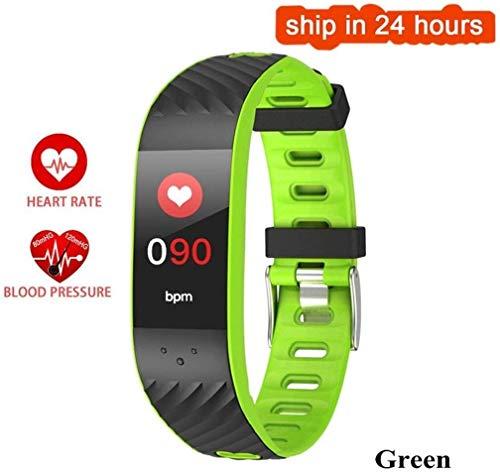 Fitness polshorloge, smartwatch, fitness, passometer, intelligente band, bloeddrukmeter, hartslagmonitor, voor Xiaomi Android iOS, haarband (kleur: blauw) M, Groen