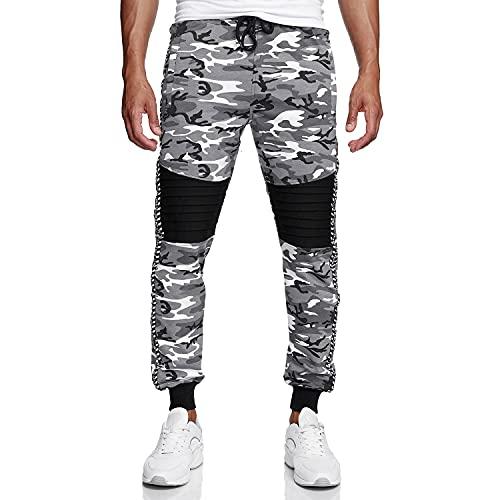 Glamexx24 Pantalones de camuflaje para hombre, pantalones de deporte para correr, ropa de calle, ajustados camuflaje blanco L