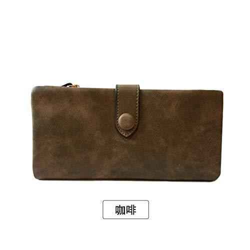 Brieftasche Frauen lange koreanische Stil trendige Persönlichkeit kleine frische Multi-Card-Slots große Kapazität zwei faltbare Brieftaschen-Kaffee