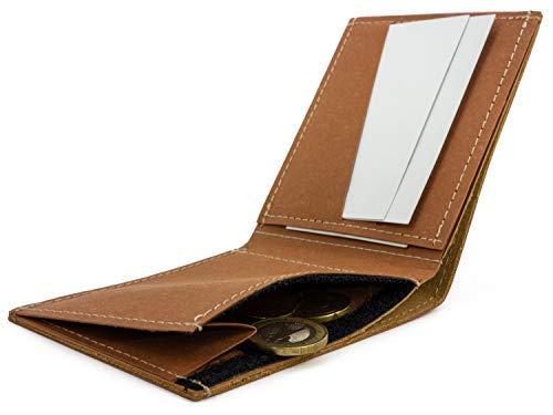 Tarjetero Slim Ultra Delgado – Monedero Tarjetero con Velcro - 2 Espacios para Tarjetas de crédito y abonos de Transporte – Hecho en la UE con Piel Vegana de Papel Impermeable (Coñac)