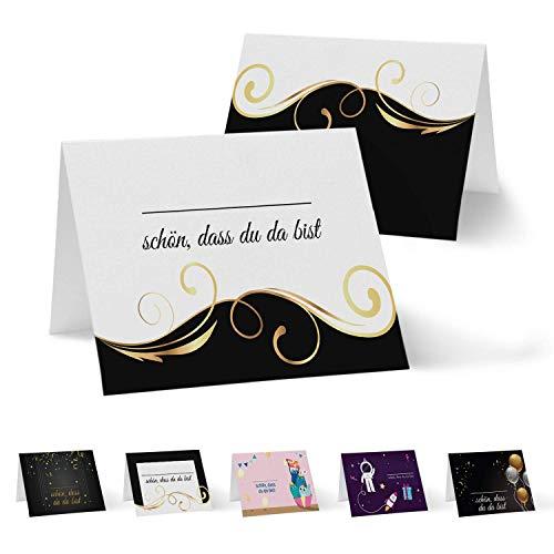 Partycards 50 Tischkarten Namenskarten Platzkarten Hochzeit Geburtstag, Kommunion, Taufe DIN A7 Schwarz Gold Welle Sitzplatzkarten