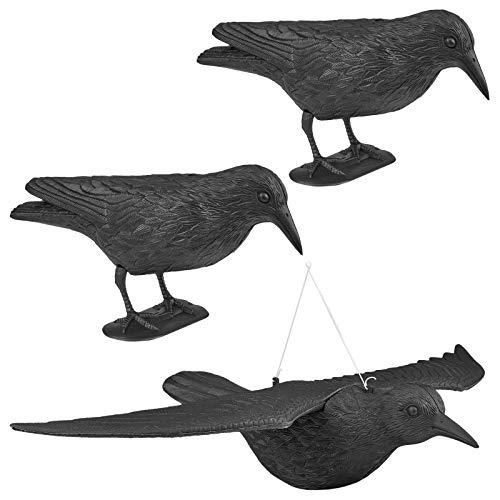 WELLGRO 3 x Vogelschreck - 2 x Krähe sitzend & 1 x Krähe fliegend - Kunststoff, schwarz