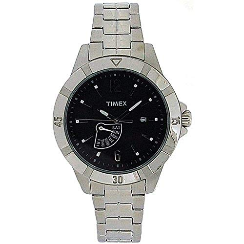 Timex analoge Herrenuhr, schwarzes Zifferblatt, silberf. Armband T2N512AU
