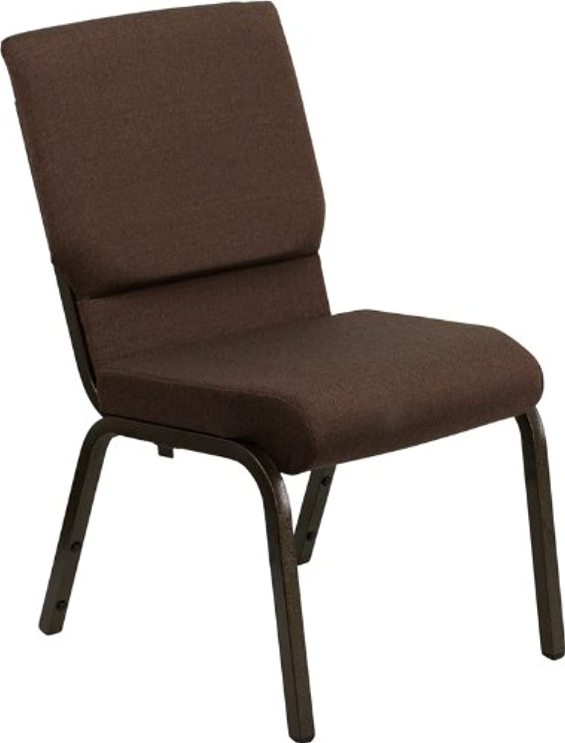 Flash Furniture Hercules Series 18.5''W Stacking Church Chair in Brown Fabric - gold Vein Frame