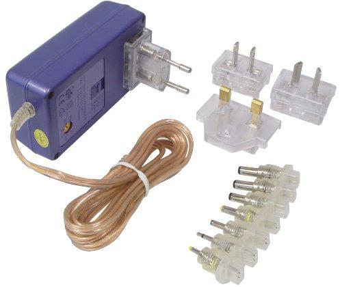 Transmedia NTT10L - Toma a Corriente para Viaje (2100 mA, con adaptadores a enchufes Individuales británicos, norteamericanos, australianos y Europeos, 100-240 V, 3, 3,3, 5, 6, 6,5 y 7 V)