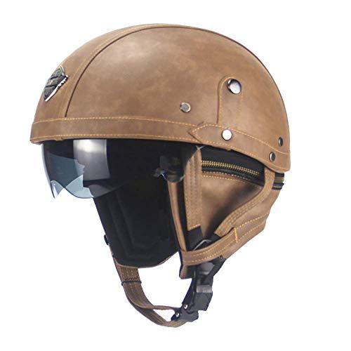 KAISIMYS - Casco de piel para motocicleta, estilo retro, cara abierta, para hombre y mujer, color negro y marrón