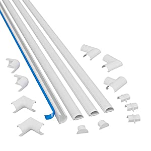 D-Line Micro Plus Cable Raceway Kit | Self-Adhesive Wire Covers | Electrical Raceway, Popular Cable Organizer for Home Theater, TV, Office and Home | 4 x 39 Inch Channels Per Pack - (Small, White)