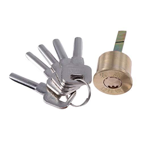 Cabilock 1 Stück Messing-Sicherheits-Ersatzschloss Zylindertür Garagenschloss mit Zierring-Montageplatte Schlüssel Schrauben